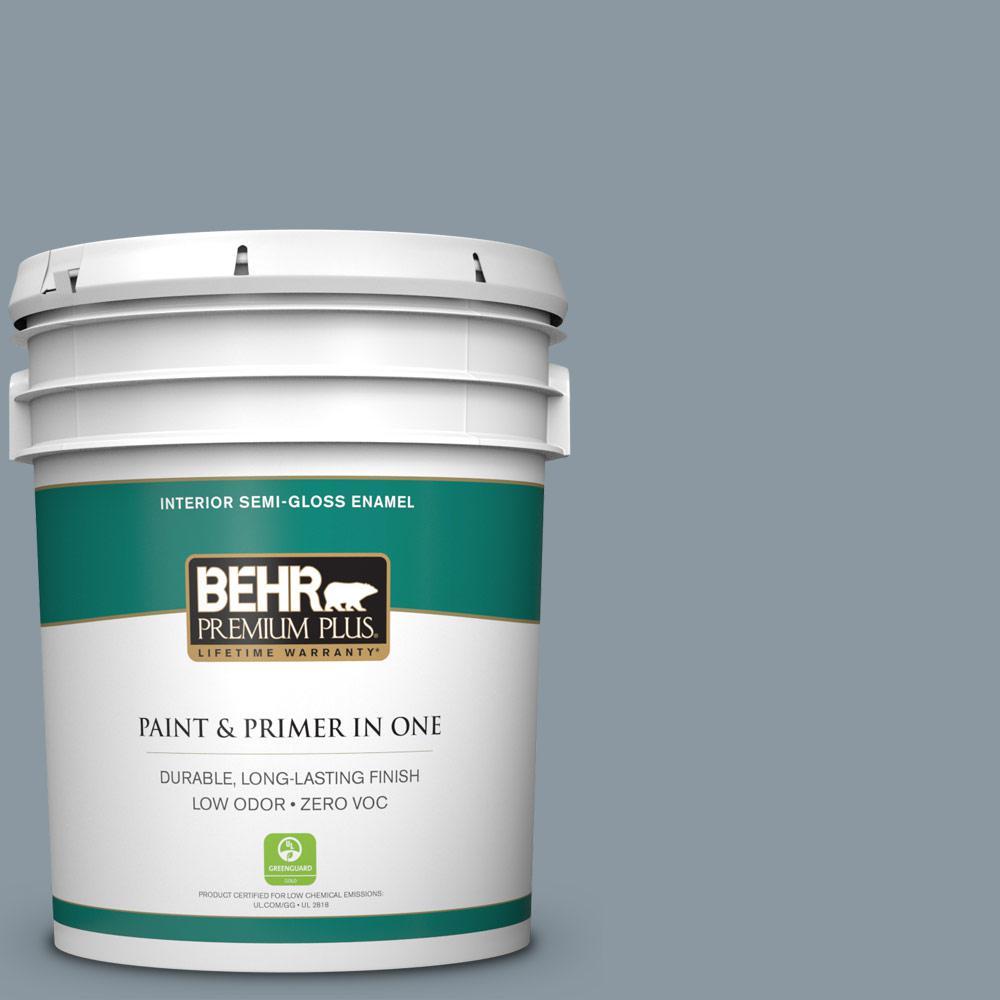 BEHR Premium Plus 5-gal. #N490-4 Teton Blue Semi-Gloss Enamel Interior Paint