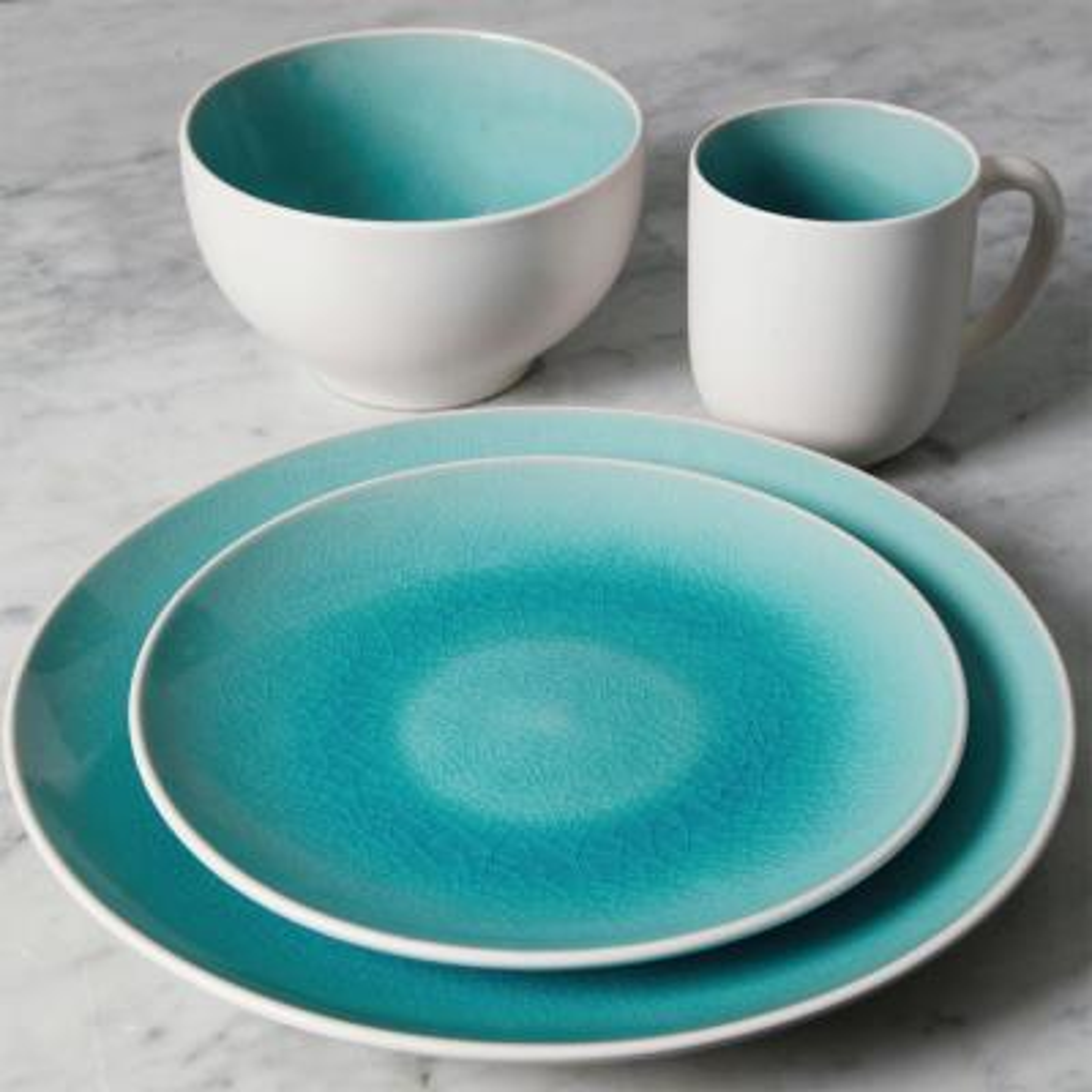 Serenity 16-Piece Turquoise Dinnerware Set