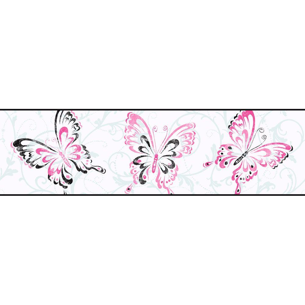 York wallcoverings candice olson kids butterfly scroll for Butterfly wallpaper for walls