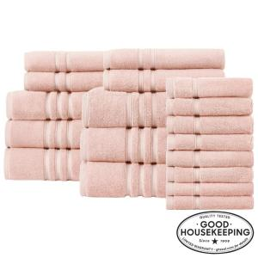 Turkish Cotton Ultra Soft 18-Piece Towel Set in Cherry Blossom
