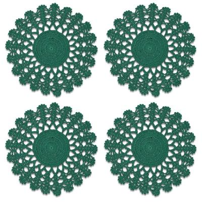 Crochet Envy Lacy 8 in. Teal Round Doily (Set of 4)