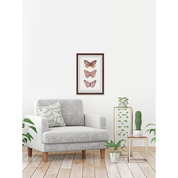 24 in. H x 16 in. W ''Pink Butterfly Trio'' by