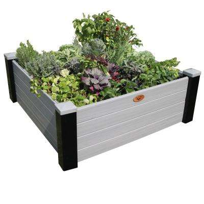 48 in. x 48 in. x 18 in. Maintenance Free Black and Gray Vinyl Raised Garden Bed