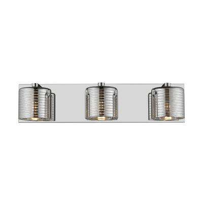Daisy III 3-Light Mirror Stainless Steel and Glass 21 in. LED Vanity Light Bar