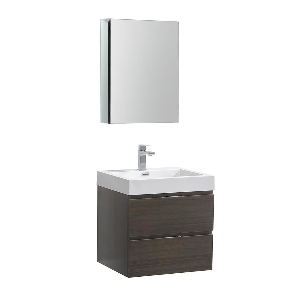 Fresca Valencia 24 in. W Wall Hung Vanity in Gray Oak with Acrylic Vanity Top in White with White Basin,Medicine Cabinet