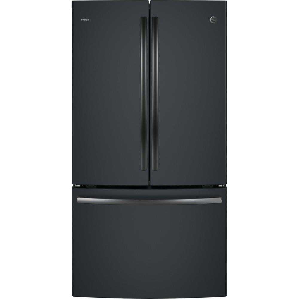 Ge Profile 23 1 Cu Ft French Door Refrigerator In Black Slate Counter Depth Fingerprint Resistant Pwe23kelds The Home Depot