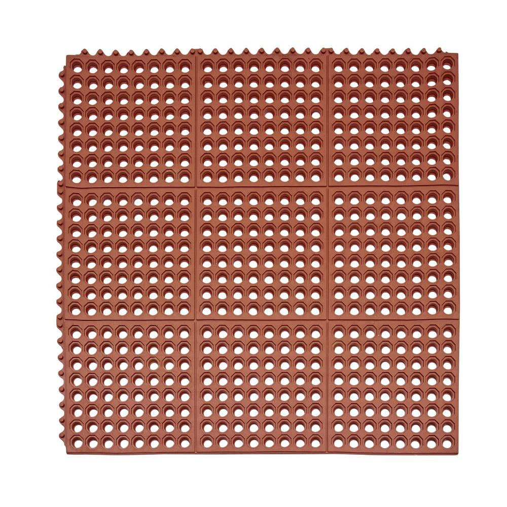 Professional Series Terra Cotta 36 in. x 36 in. Grease Proof Rubber Modular Kitchen Mat