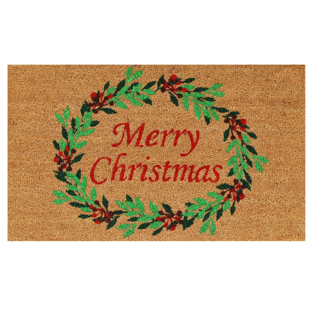 Christmas Wreath 17 in. x 29 in. Coir Door Mat