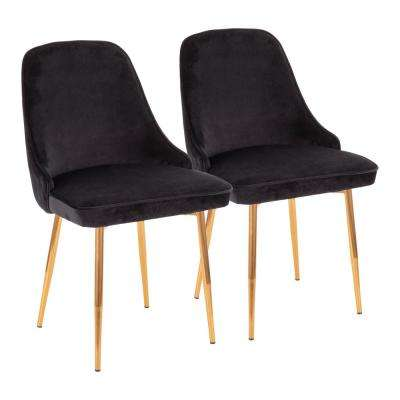 Marcel Black Velvet and Gold Dining Chair (Set of 2)