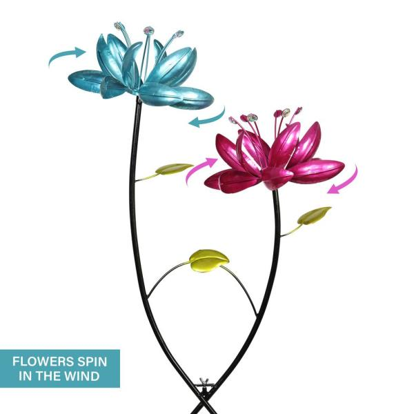 13.5 Dia x 48.5 H Lawn Great for Any Yard Garden 4 Ft Tall Collections Etc Vibrantly Colorful Rainbow Petals Double Sided Spinning Metal Garden Stake
