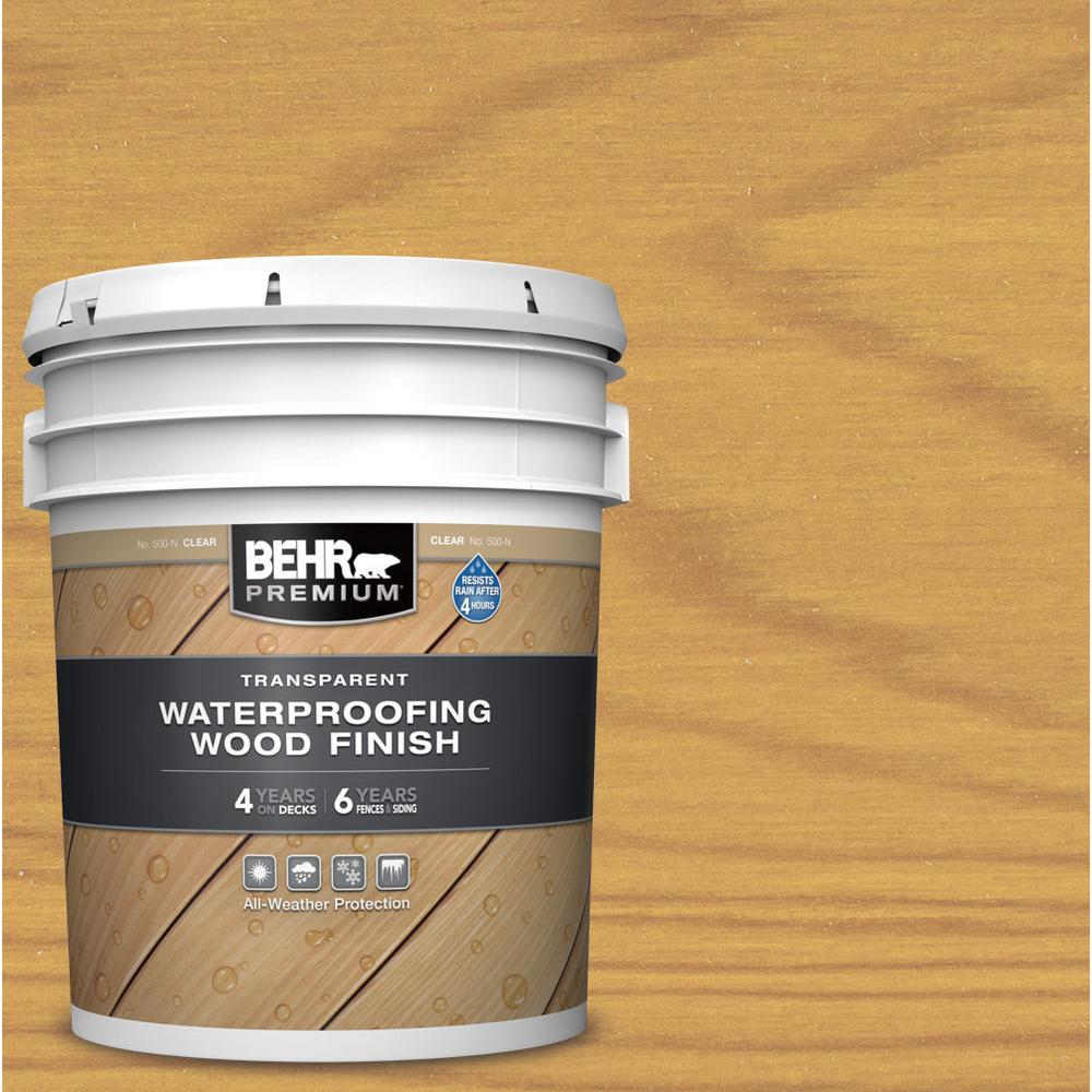 BEHR PREMIUM 5 gal. Clear Transparent Waterproofing Exterior Wood Finish