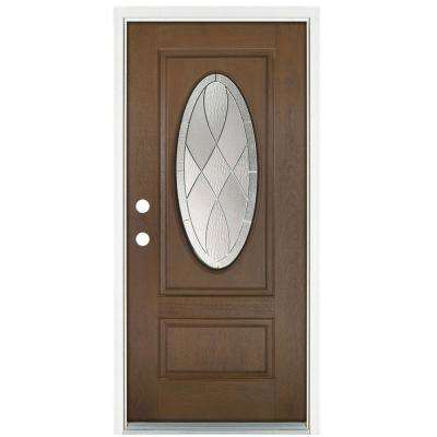 36 in. x 80 in. Medium Oak Right-Hand Inswing Zen Oval Lite Prestige Stained Fiberglass Prehung Front Door