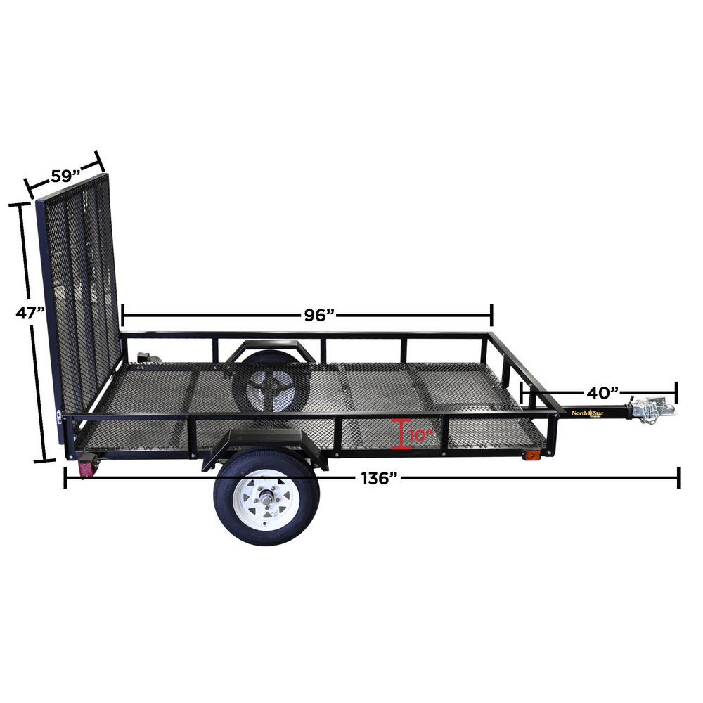 Northstar Trailers 5ft X 8ft Allstar Utility Trailer With Rear Loading Ramp 1635lb Load Capacity Nn58 The Home Depot