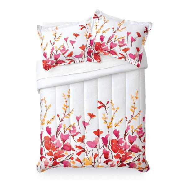 Lovely Flowers Floral Microfiber 2-Piece Twin Comforter Set