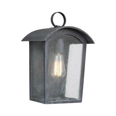 Hodges 1-Light Ash Black Outdoor 13.75 in. Wall Lantern Sconce