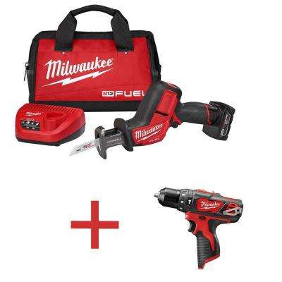 M12 FUEL 12-Volt Cordless Lithium-Ion Brushless HACKZALL Reciprocating Saw Kit with Free M12 3/8 in. Hammer Drill/Driver