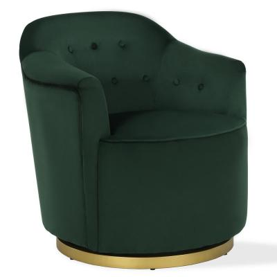 Azalea Forest Green Swivel Chair with Gold Metal Base
