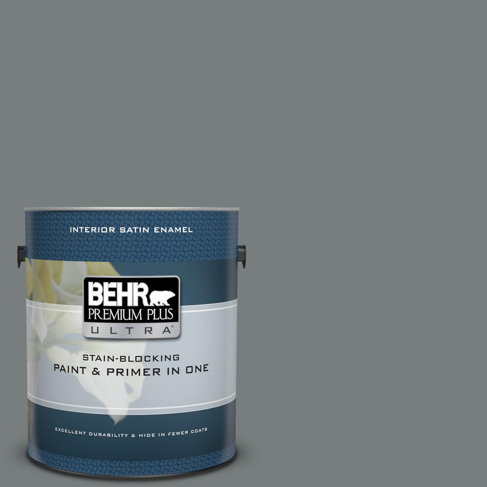 Ppu25 18 Shutter Gray Satin Enamel Interior Paint And Primer In One