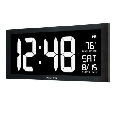 18 in. Large LED Clock with Indoor Temperature in White Display