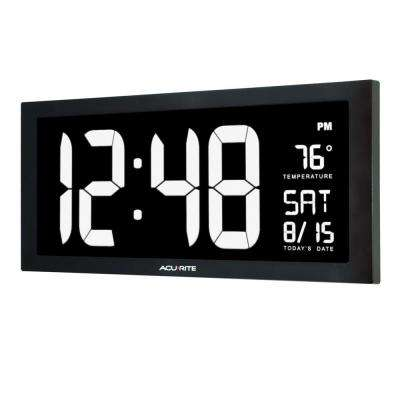 2b9ced757c93 Large LED Clock with Indoor Temperature in White Display