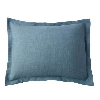 Asher Sea Blue Solid Cotton King Sham