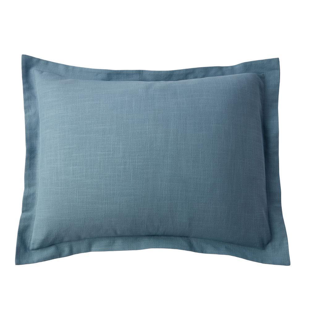 Asher Sea Blue Solid Cotton Standard Sham