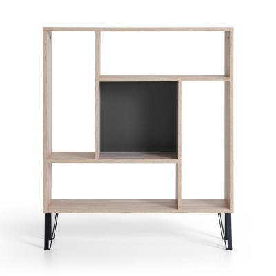 43 in. Oak/Anthracite Wood 5-shelf Etagere Bookcase with Open Back