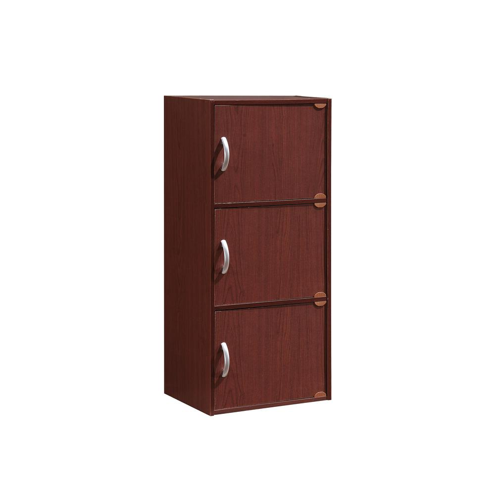 HODEDAH 3-Shelf, 36 in. H Mahogany Bookcase with Doors