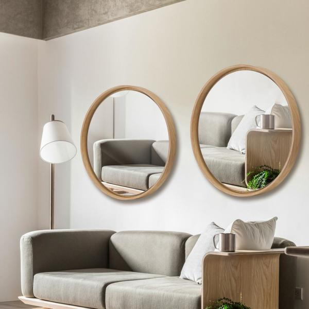 Neu Type Modern Rustic Wood Round Hanging Wall Mirror Living Room