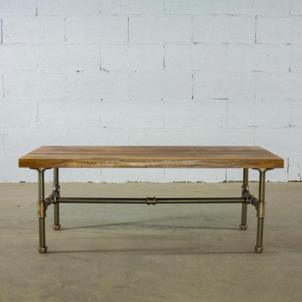 Beau OS Home And Office Furniture Brushed Brass Industrial Pipe Coffee Table  With Reclaimed Aged Wood
