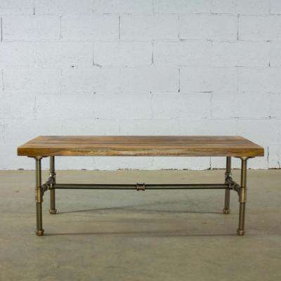 Brushed Brass Industrial Pipe Coffee Table with Reclaimed Aged Wood