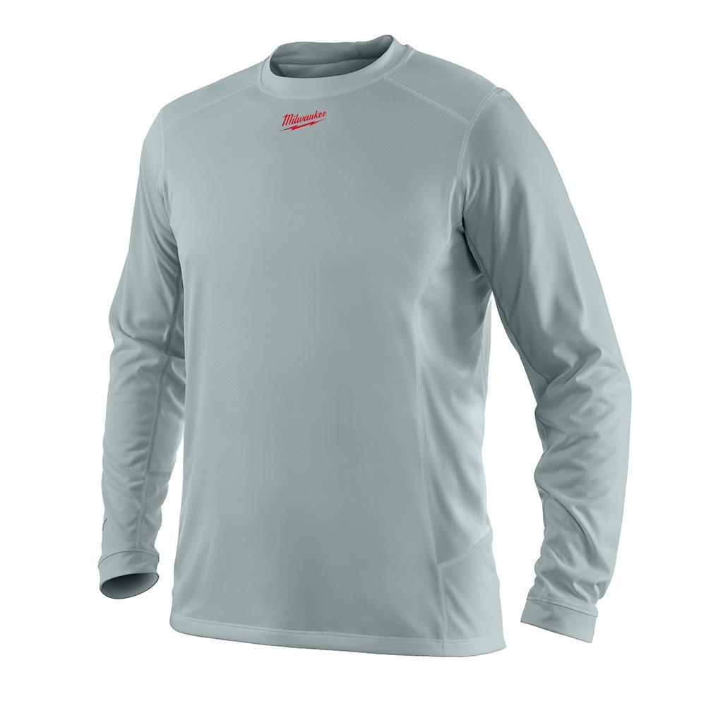 2577b559669 Milwaukee Men's 2X Work Skin Gray Long Sleeve Light Weight Performance Shirt