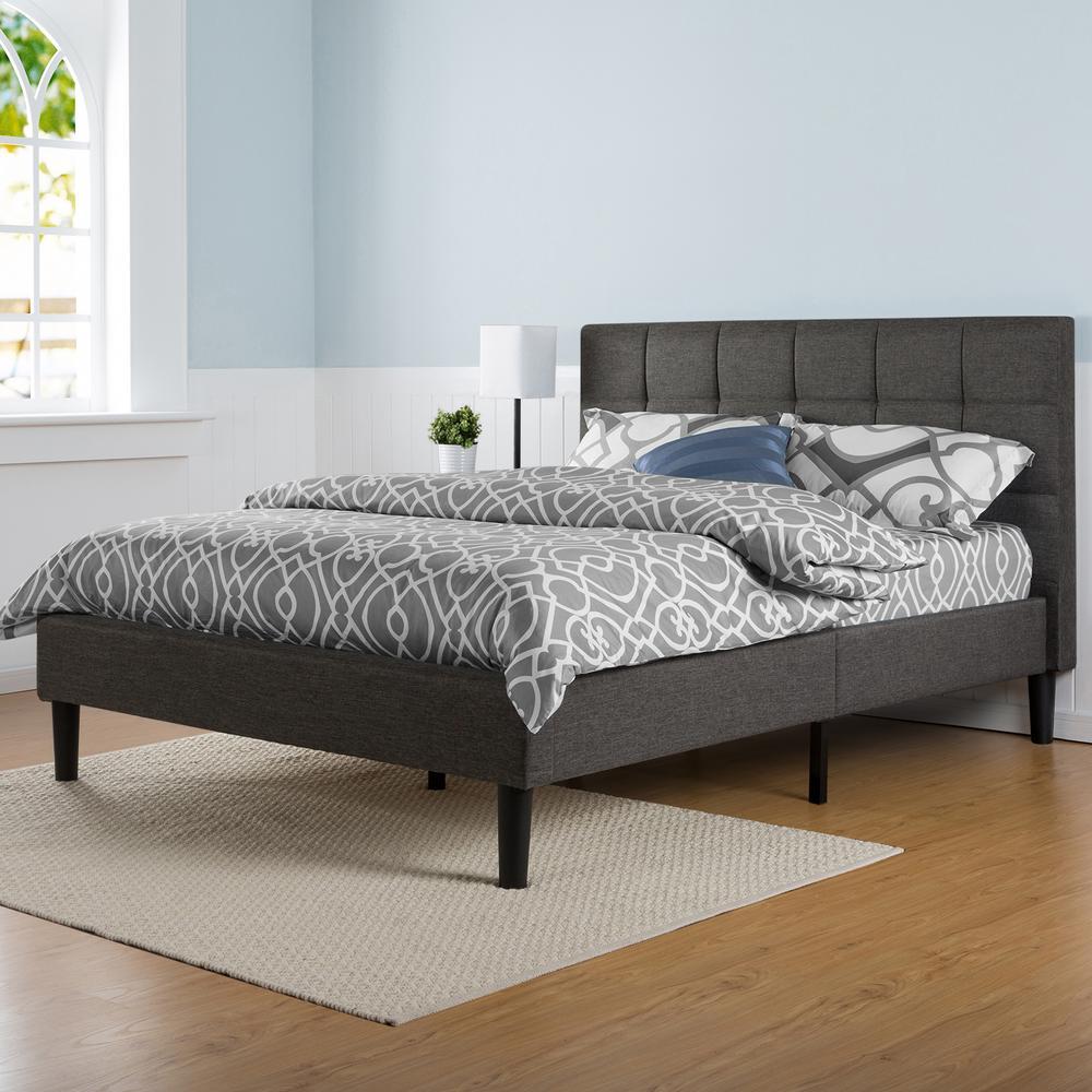 Lottie Upholstered Square Stitched Platform Bed Frame, Queen