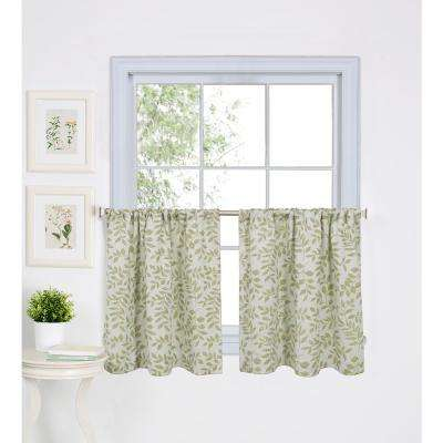 Serene 30 in. W x 36 in. L Cotton Kitchen Tiers in Sage (Set of 2)