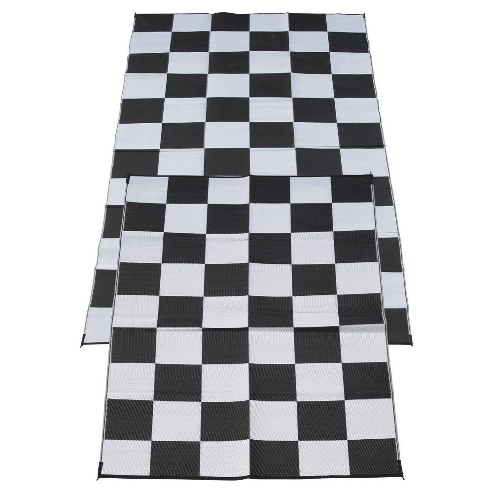 Fireside Patio Mats Racing Checks Black And White Checkered Flag 6 Ft. X 9  Ft