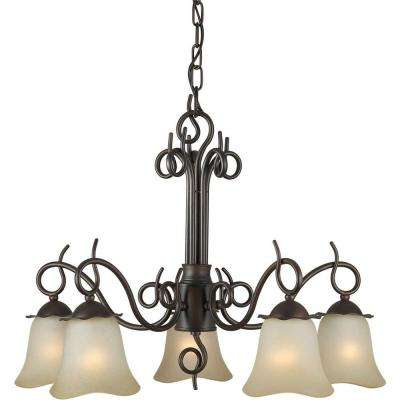 5-Light Antique Bronze Chandelier with Umber Glass Shade