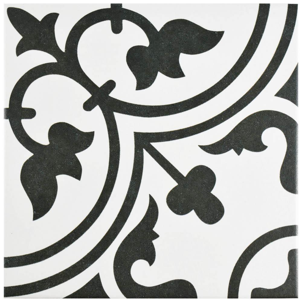 Merola Tile Arte White 9-3/4 in. x 9-3/4 in. Porcelain Floor and ...