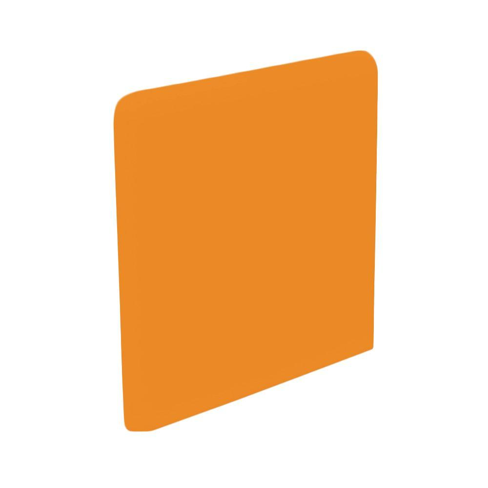 U.S. Ceramic Tile Color Collection Bright Tangerine 3 in. x 3 in. Ceramic Surface Bullnose Corner Wall Tile-DISCONTINUED