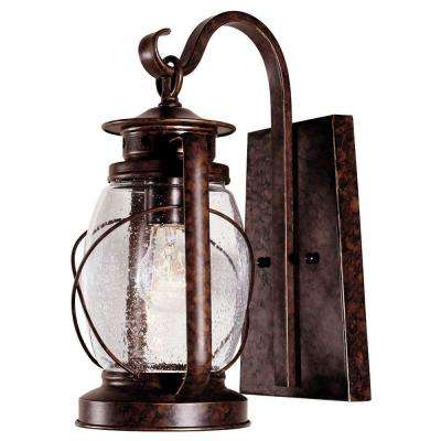 1-Light Wall Mount Lantern New Tortoise Shell Finish Clear Seeded Glass
