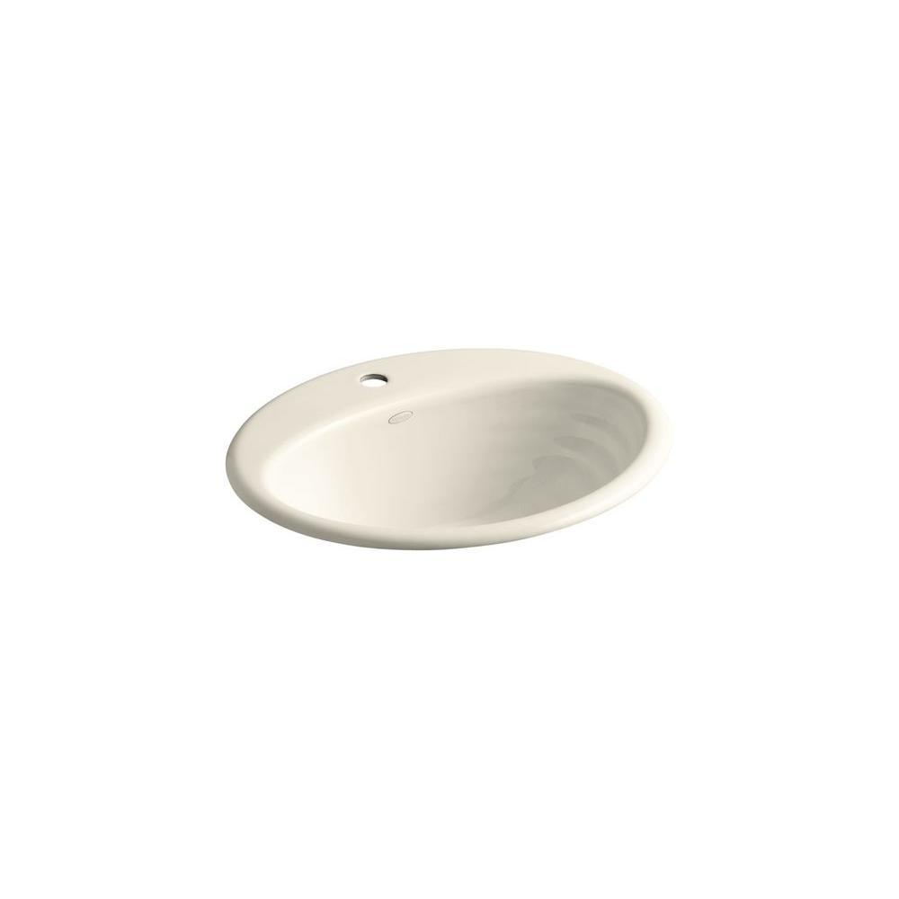 KOHLER Ellington Drop-In Cast Iron Sink Basin in Almond with Overflow Drain
