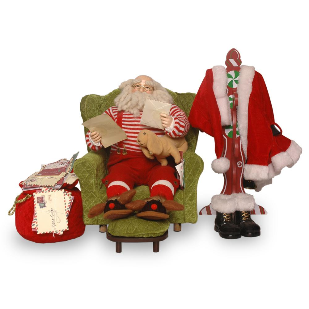 16 in. Plush Collection Sitting Santa with Coat Rack