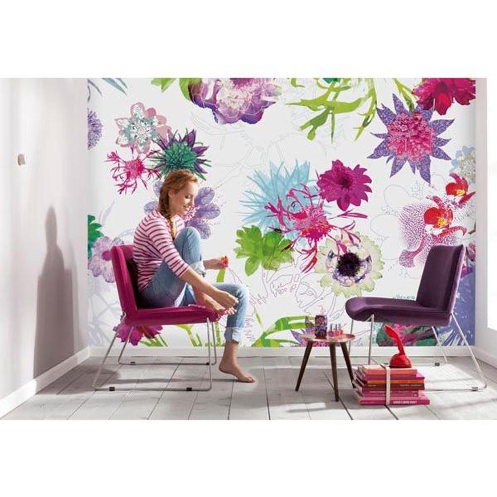 Komar 100 in x 145 in fleur de paris wall mural 8 911 for Wallpaper murals home depot