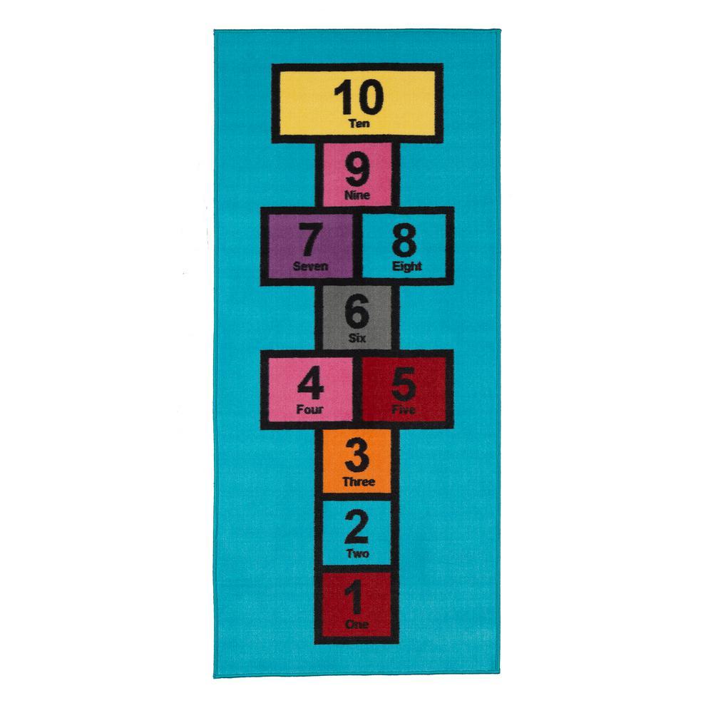 Children Garden's Collection Blue Educational Titled Hopscotch Design 2 ft. 7 in. x 6 ft. Non-Slip Kids Runner Rug