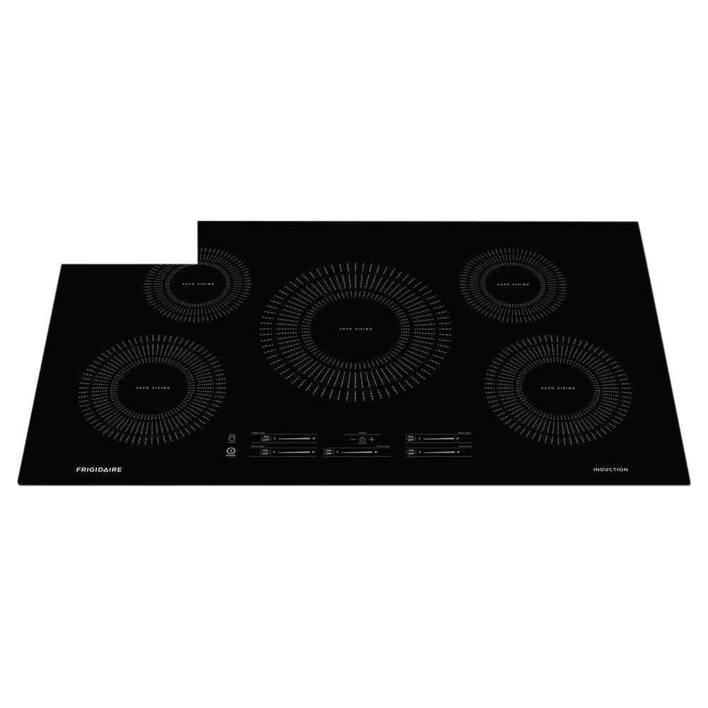 Frigidaire 36 in. Induction Cooktop in Black with 5 Elements The Frigidaire 36 in. Electric Cooktop has 5 elements, including two 6 in., one 8 in. and one 10 inch elements that are perfect for large pots and pans. The smooth ceramic cooktop surface is sleek in style and easy to keep clean. Front control glass-touch slew pad makes it easy for you to adjust cooking temperatures. Color: Black.