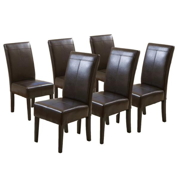 Pertica T-stitch Chocolate Brown Leather Dining Chairs (Set of 6)