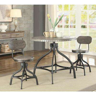 Fatima 3-Piece Pack Adjustable Gray Oak Counter Height Dining Set