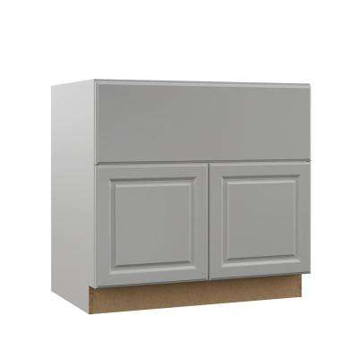 Elgin Assembled 36x34.5x23.75 in. Farmhouse Apron-Front Sink Base Kitchen Cabinet in Heron Gray