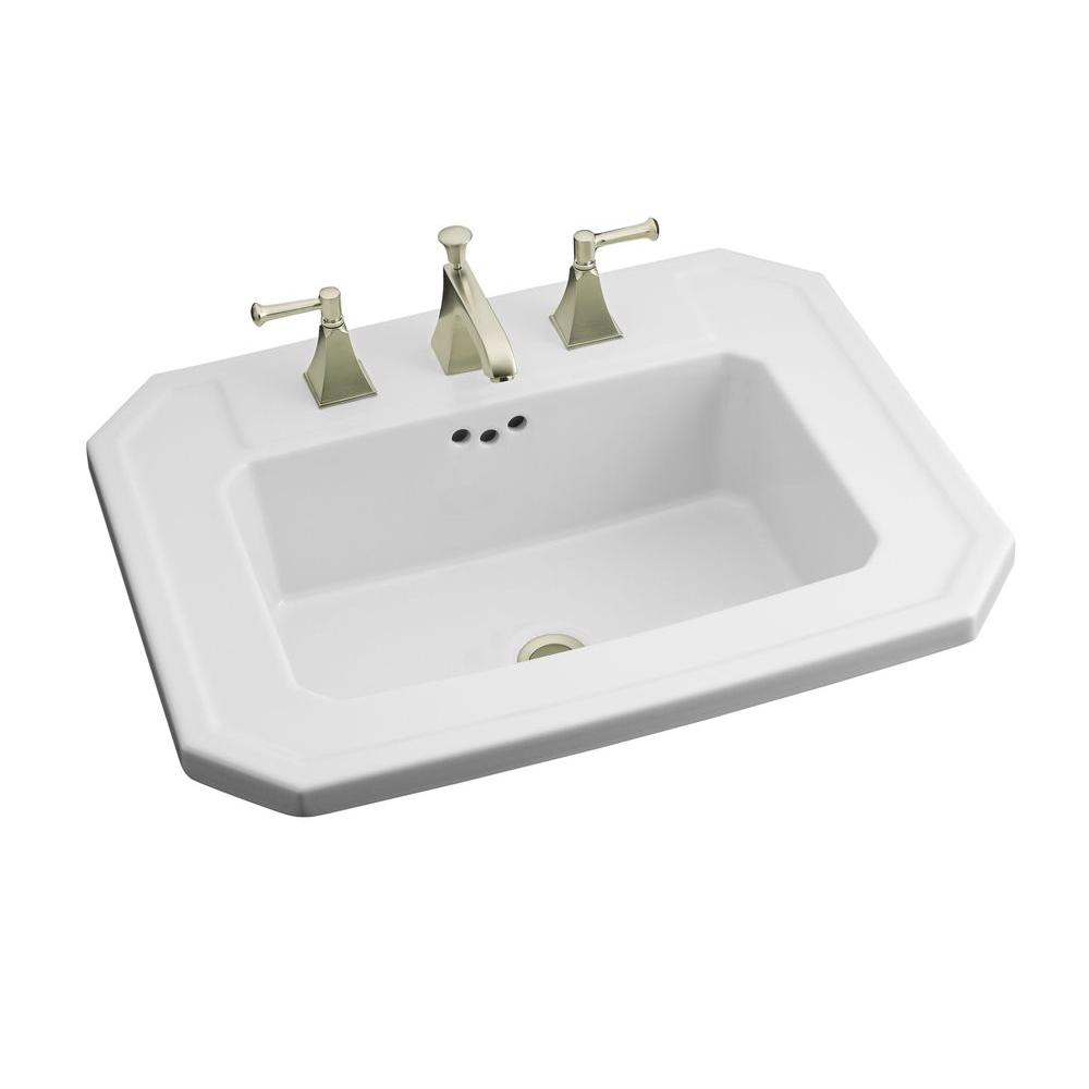 Kohler Kathryn Drop In Vitreous China Bathroom Sink In White With Overflow Drain K 2325 8 0