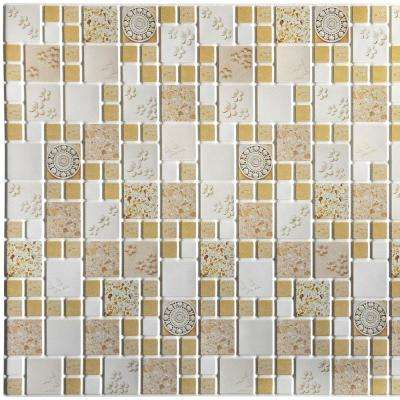 3D Falkirk Retro 10/1000 in. x 37 in. x 19 in. Beige Mustard Yellow Faux Squares Victorian Medallions PVC Wall Panel