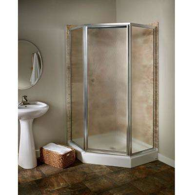 Prestige 24.25 in. x 68.5 in. Neo-Angle Shower Door in Silver and Hammered Glass